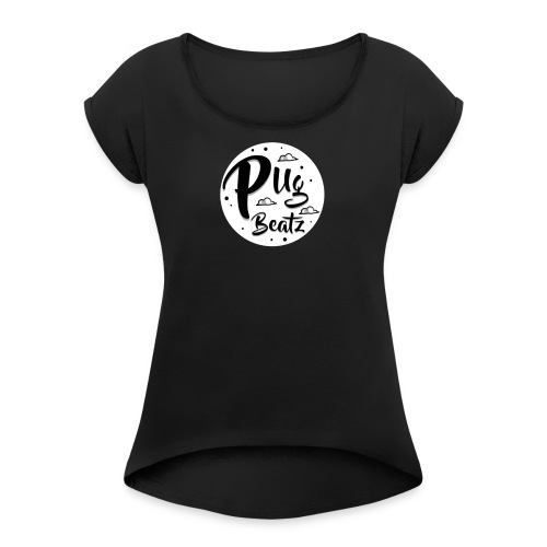 PugBeatz Merch (White) - Women's Roll Cuff T-Shirt