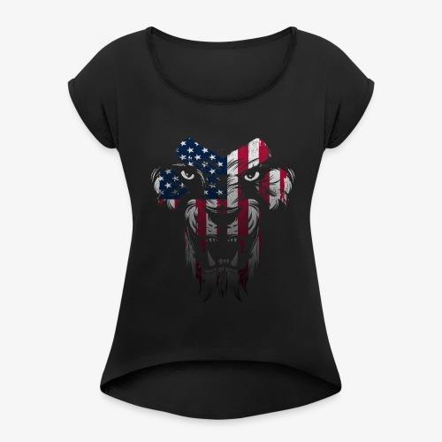 American Flag Lion Shirt - Women's Roll Cuff T-Shirt
