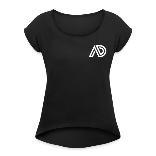 Basic White Logo - Women's Roll Cuff T-Shirt