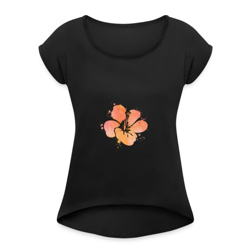 Hibiscus Watercolor Design - Women's Roll Cuff T-Shirt
