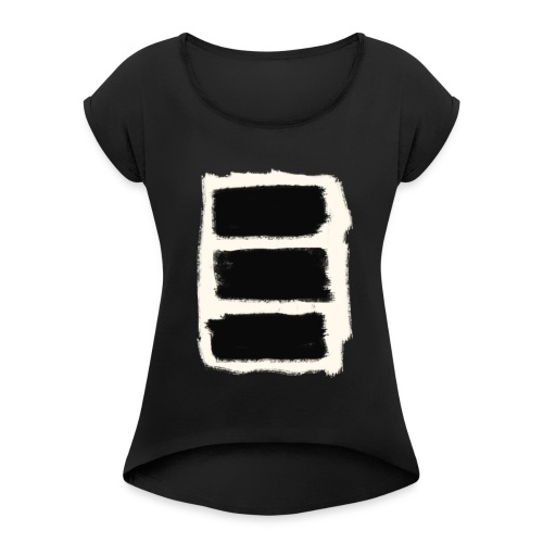 Three Black Stripes T-Shirt - Women's Roll Cuff T-Shirt