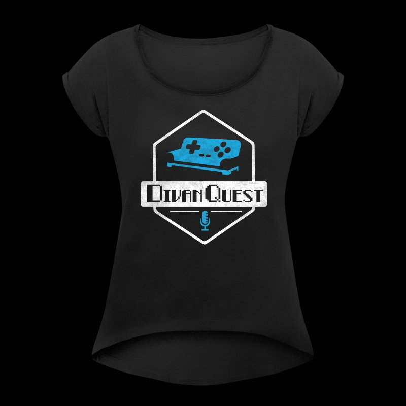 DivanQuest Logo (Badge) - Women's Roll Cuff T-Shirt