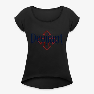 Deviiant blk center outl - Women's Roll Cuff T-Shirt