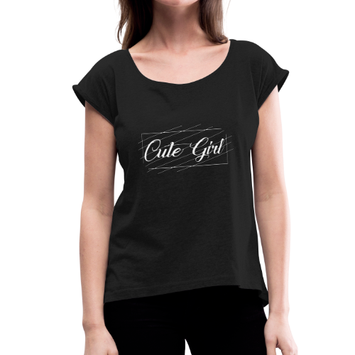 Cute Girl 01 - Women's Roll Cuff T-Shirt