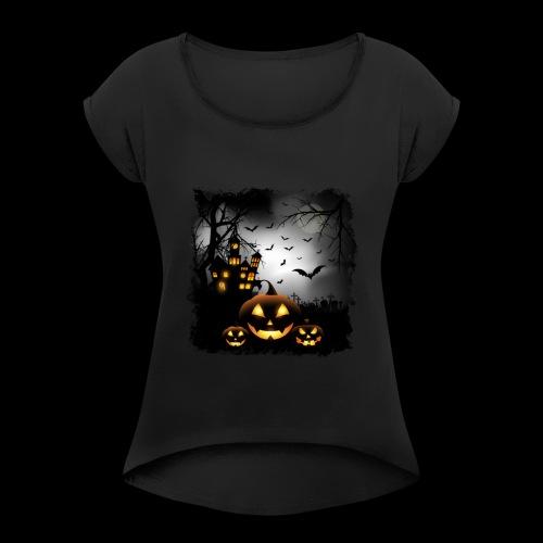 Halloween Pumpkin Castle - Women's Roll Cuff T-Shirt