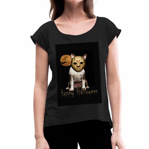 Jason - Halloween Boston Terrier - Women's Roll Cuff T-Shirt