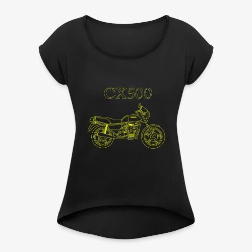 CX500 line drawing - Women's Roll Cuff T-Shirt