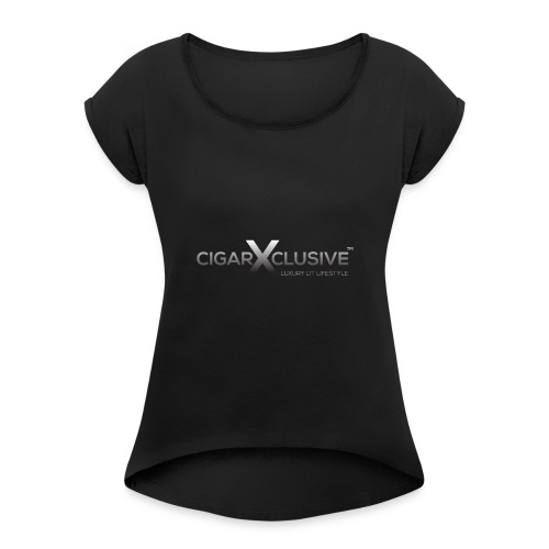 cigarexclusive logo final png - Women's Roll Cuff T-Shirt
