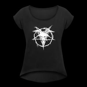 Logo Goat Only White - Women's Roll Cuff T-Shirt