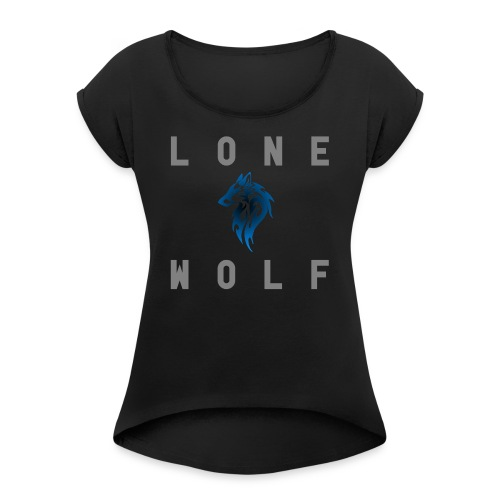 Block Letters in Gray By Lone Wolf Nation - Women's Roll Cuff T-Shirt