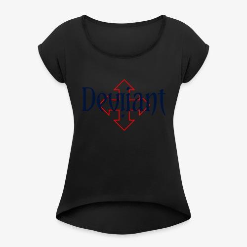 Deviiant blk center outl - Women's Roll Cuff T-Shirt