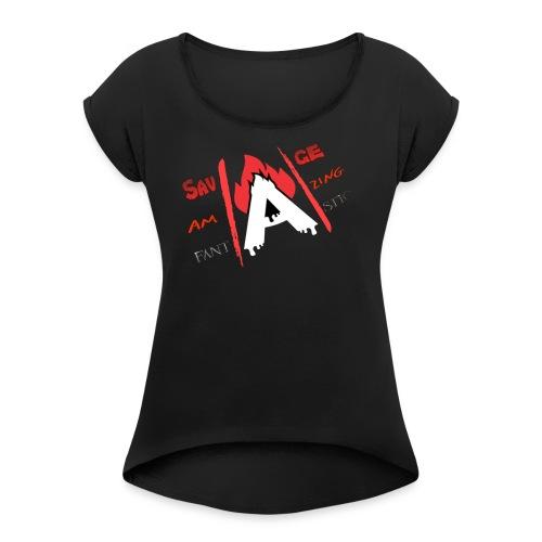 A-Game logo - Women's Roll Cuff T-Shirt