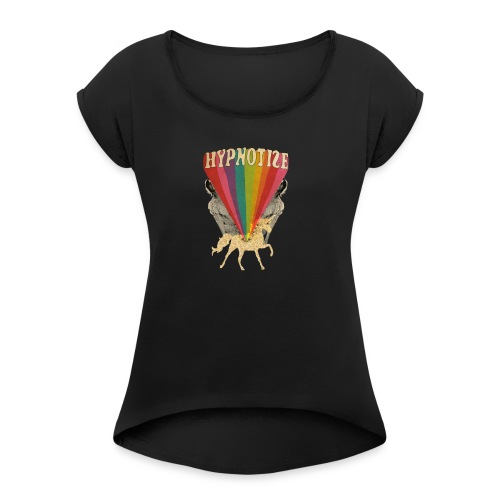 Hypnotize psychedelic design - Women's Roll Cuff T-Shirt