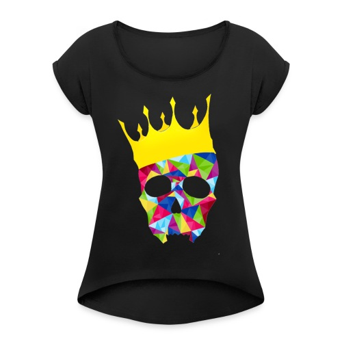 skull1 - Women's Roll Cuff T-Shirt