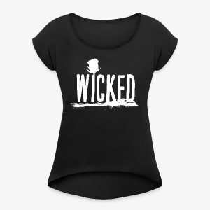 Wicked Rose (White) - Women's Roll Cuff T-Shirt