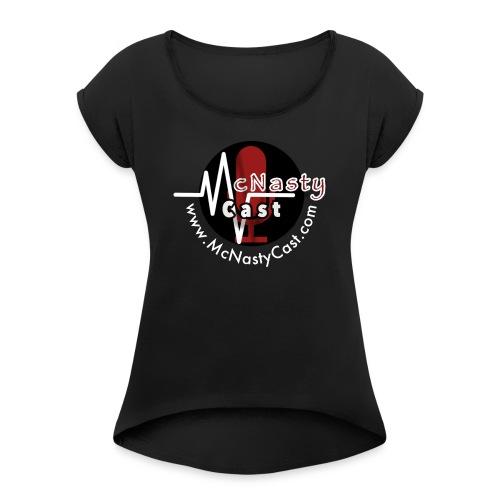 MC Logo with Web Address White - Women's Roll Cuff T-Shirt