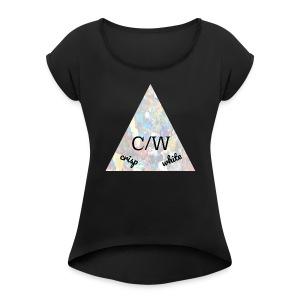 crisp white - Women's Roll Cuff T-Shirt