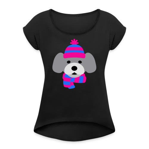 Cute Grey dog in pink and blue hat and scarf - Women's Roll Cuff T-Shirt