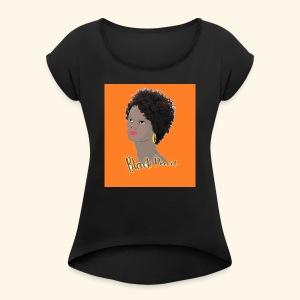 Black Curly Kinky Frizzy Hair - Women's Roll Cuff T-Shirt