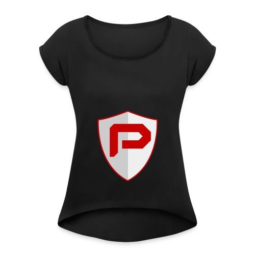 PancakeTekkit Logo - Women's Roll Cuff T-Shirt