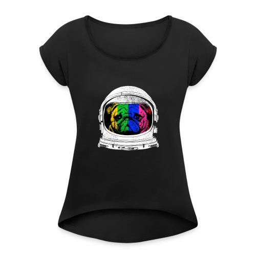 Astronaut Pug T-Shirt - Women's Roll Cuff T-Shirt