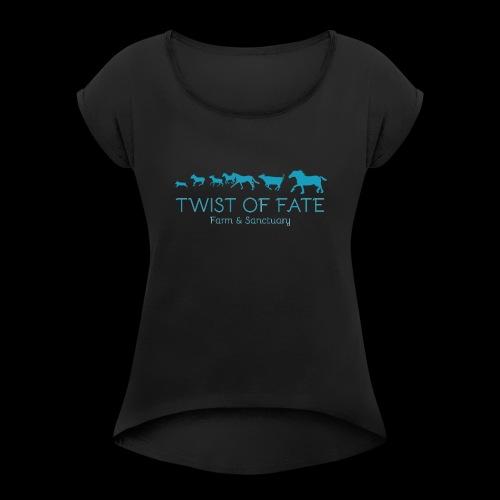 Twist of Fate Farm and Sanctuary Logo - Women's Roll Cuff T-Shirt