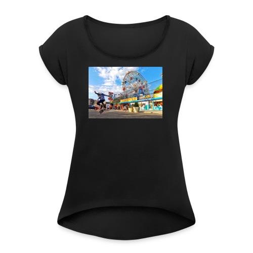 Coney Island Kickflip - Women's Roll Cuff T-Shirt