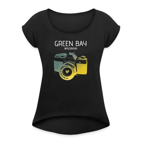 Green Bay camera with heart - Women's Roll Cuff T-Shirt