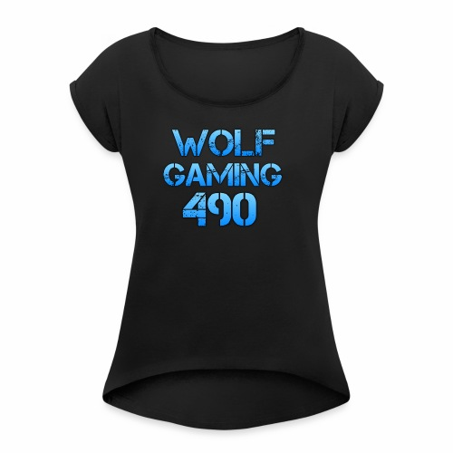 Wolfgaming490 Logo - Women's Roll Cuff T-Shirt