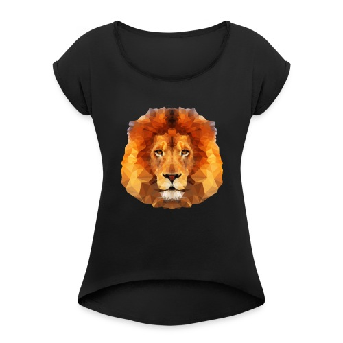 Low Poly Lion Face - Women's Roll Cuff T-Shirt