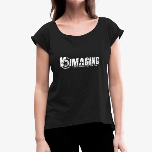 16 Horizontal White - Women's Roll Cuff T-Shirt