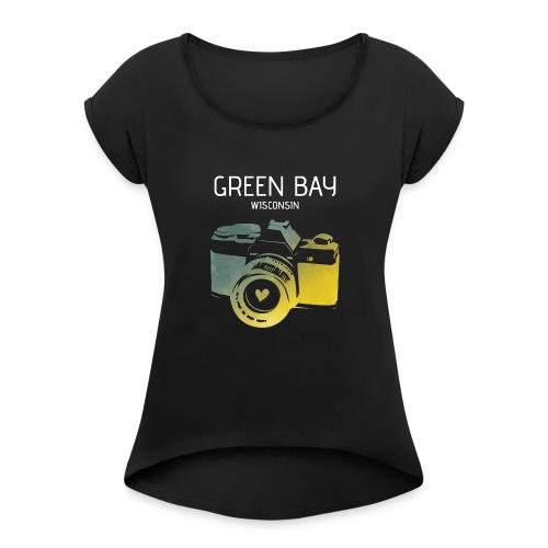 Green Bay camera with heart - Women's Roll Cuff T-Shirt