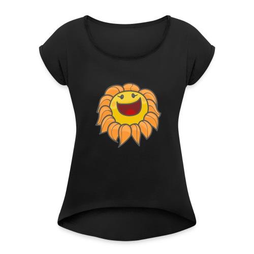 Happy sunflower - Women's Roll Cuff T-Shirt