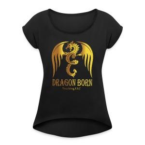 Dragon Born Logo Style 1 Gold - Women's Roll Cuff T-Shirt