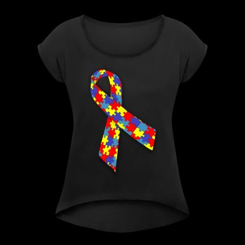 autism awareness ribbon - Women's Roll Cuff T-Shirt