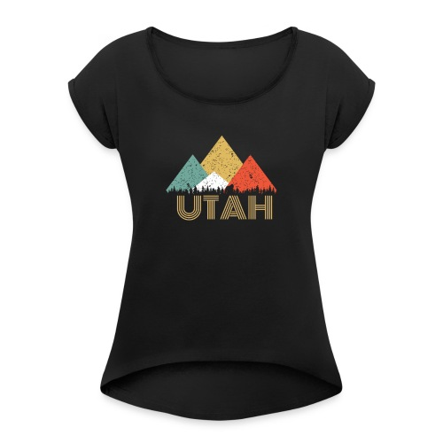 Secret Sasquatch Hidden Retro Utah Hiding Bigfoot - Women's Roll Cuff T-Shirt