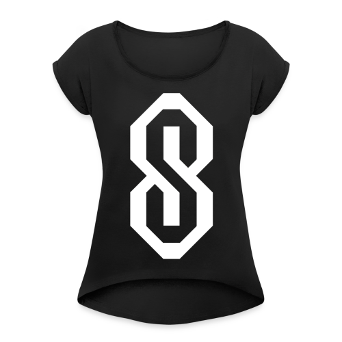 White S Logo - Women's Roll Cuff T-Shirt
