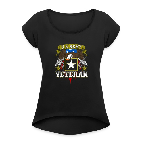 US military Veterans - Women's Roll Cuff T-Shirt