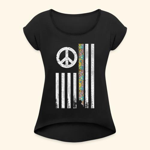 Hippie Peace Flag - Women's Roll Cuff T-Shirt