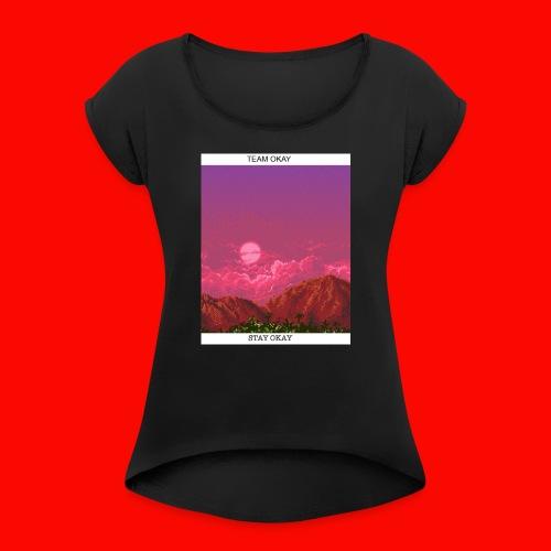 TEAM OKAY 8-bit - Women's Roll Cuff T-Shirt