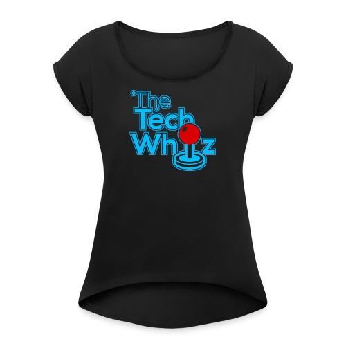 TheTechWhiz Stacked Logo - Women's Roll Cuff T-Shirt