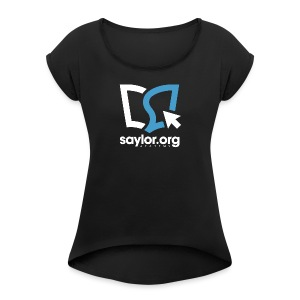 Square Full White and Blue - Women's Roll Cuff T-Shirt
