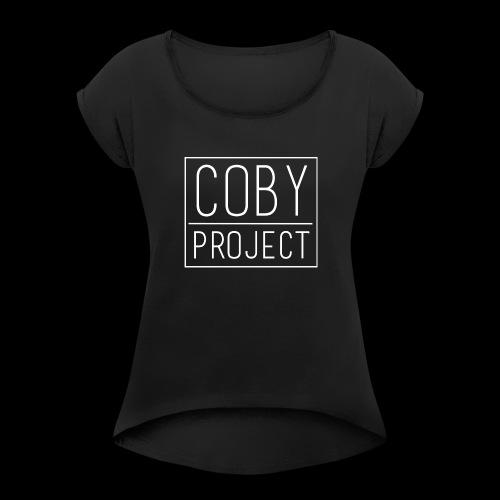 coby logo white - Women's Roll Cuff T-Shirt
