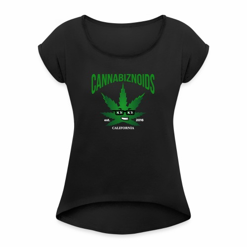Cannabiznoids Logo with Text - Women's Roll Cuff T-Shirt