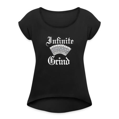 Infinite Bands White Ink - Women's Roll Cuff T-Shirt