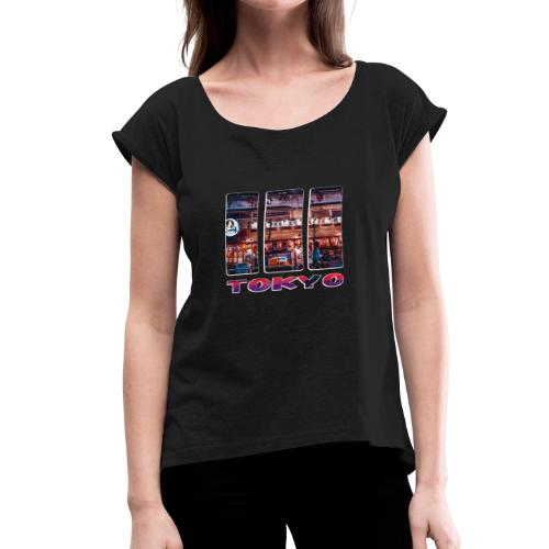 Tokyo Japan Nightlife Purple - Women's Roll Cuff T-Shirt