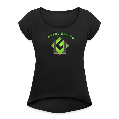 Unwary Gaming Logo - Women's Roll Cuff T-Shirt