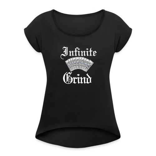 Infinite Bands White Ink - Women's Roll Cuff T-Shirt