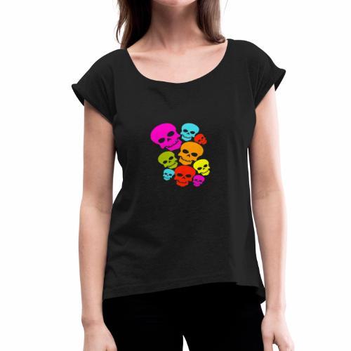 Happy Skull - Women's Roll Cuff T-Shirt