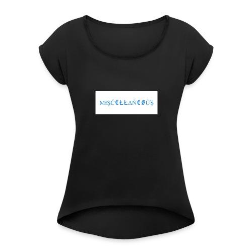 Miscellaneous White&Blue Design - Women's Roll Cuff T-Shirt